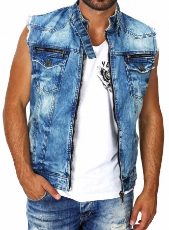 to buy lace up in exclusive range Jean Sans Manche Homme Chemise Gilet Sur qMzpjLUGSV