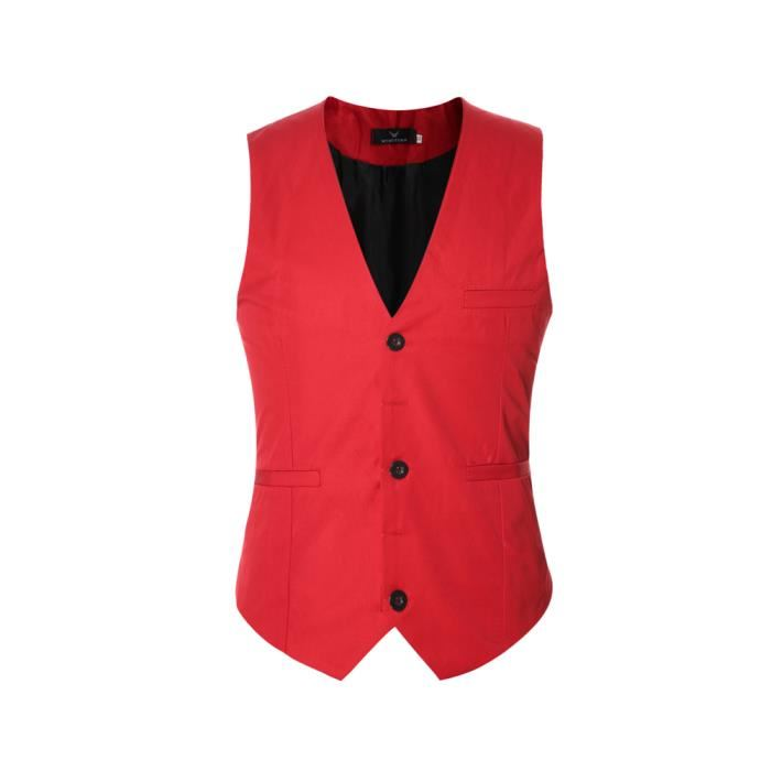 Gilet costume rouge homme